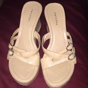 Crystal cork high heel sandals